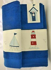 "Beach-hut, Lighthouse, Sailing boat - 3 piece Bath, Hand towel & Flannel  ""A"""