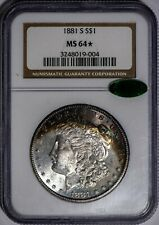 1881-S Morgan NGC MS64*STAR CAC-Verified, Neon Color-Toned Silver Dollar!