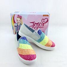 NWB JoJo Siwa Denim Slip on With Rainbow Glitter Girls Size 4 1/2