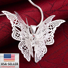 Women Fashion 925 Silver Plated White Topaz Butterfly Pendant Necklace New