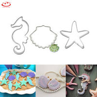 3pcs Shell Seahorse Star Biscuit Pastry Cookie Cutter Cake Decor Mould Tool NEW