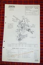 BEDFORD 12 hp CA VAN  ZENITH 30 VIG-7 CARBURETTER PARTS LIST TECHNICAL1952/54