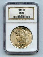 1923 Silver Peace Dollar NGC Graded MS-65, Nice!