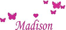 Custom Girls Name with Butterflies - Removable Wall Decal . Choice of colours