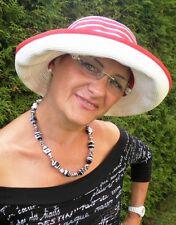 Damenhut Kofferhut Reisehut  Rot/Weiß Elegant Damenhüte Strohhüte Anlasshüte