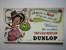 Vintage mid century chromolithograph Dunlop Tyres card flier advert