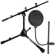 K&M 23956 Pop Screen + Keep Drum Microphone Stand Small MS118B