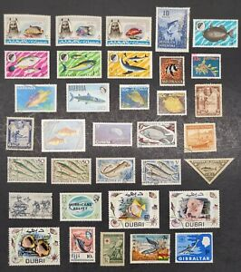 WORLDWIDE WW Collection TOPICAL FISH & FISHING LOT 3 SCANS 90+ STAMPS 99c