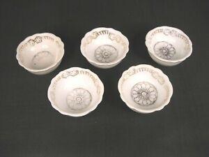 Five Piece Set Porcelain Open Salt Cellars White/Gold Trim Occupied Japan