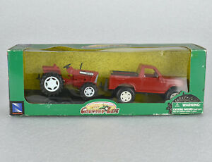 New-Ray Country Life Red Plastic Truck with Trailer and Farm Tractor