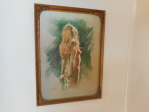 VINTAGE RETRO FRAMED NUDE WOMAN PAINTING PRINT NAKED LADY