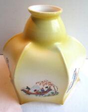 Abat-jour vintage opaline fine, forme pagode à 6 faces, décor japonisant