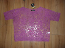 KALEIDOSCOPE LADIES PURPLE MAGENTA SCOOP NECK CROCHET TOP SIZE UK 10 BRAND NEW