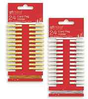 SET 24 OR 48 GOLD OR SILVER CHRISTMAS CARD HOLDER PEGS & 3m STRING CORD PEGM