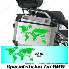 PAIR OF STICKERS WORLD MAP BMW R 1200 GS LC GLOBE FOR SIDE CASES GREEN