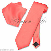 Men's Coral Neck tie and & Pocket Square Hankie Set Formal Party Wedding Prom