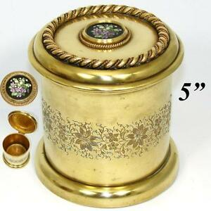 Antique Napoleon III Era Gilt Bronze Humidor, Tobacco Jar, Pietra Dura Styl Plaq