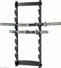 8 Tier Sword Wall Display Stand Rack only Black 8 Spots Full Size New Wood