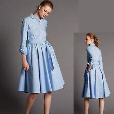 New M&S AUTOGRAPH Pure COTTON Midi Length SHIRT DRESS ~ Size 16 ~ BLUE STRIPE