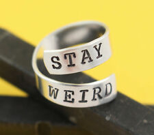 Stay Weird Adjustable Twist Wrap Ring - Aluminum