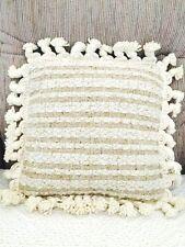 Wool Throw Pillow with tassel trim