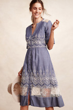 NEW Anthropologie Moulinette Soeurs Embroidered Waters Shirtdress Blue $188 Sz 2
