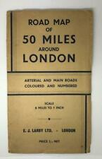 "Old Vintage ""Cartographers Ltd"" Road Map 50 Miles Around London"