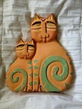"""Carved Wood Painted Cat Figurines Sculpture Studio B West Palm Beach 11 3/4"""" T"""