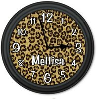 Personalized Leopard Animal Print WALL CLOCK - Home Decor - GREAT GIFT