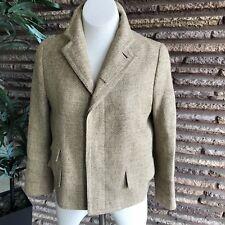Ralph Lauren Blue Label Silk Wool Linen Brown Herringbone Blazer Jacket Size 12