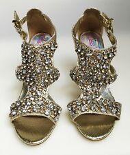 Sexy Miss N (Next) Jewelled Diamante Gold High Heel /Sandals Shoes UK 6 1/2 - 40