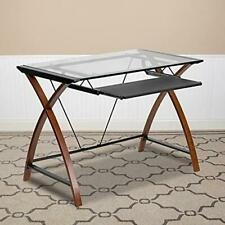 Flash Furniture Glass Computer Desk with Pull-Out Keyboard Tray and Crisscross