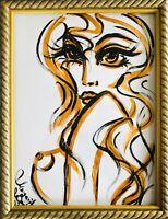 ORIGINAL Margarita Bonke Malerei A3 PAINTING erotic EROTIK Gold WOMEN akt nu art