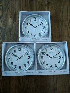 "Lot of 3 new Silver Round Battery Operated Wall Clock 8.78"" diameter quartz"