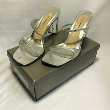 Valerie Stevens Silver Leather Cappuccino Jeweled Straps Heels Slippers 10M