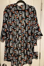 Lularoe Lindsay Kimono Large Black Geo Print Lightweight Nwt