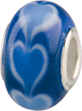 Charlot BORGEN cristal bola con silberkern corazones GPS 08 Azul Murano Bead