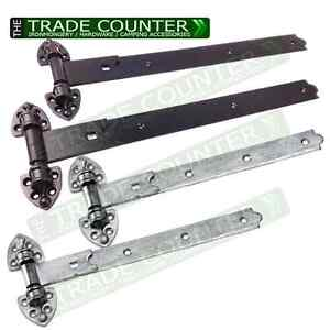 """Reversible Gate Hinge x 2 Hook And Bands Stable Doors 20"""" or 24"""" Black or Galv"""