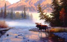 Jigsaw Puzzle Animal Wild Moose Into the Forest Mist 1000 pieces NEW made in USA