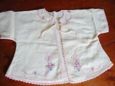 Vintage 1940 Infant Baby Doll Soft Flannel Hand Embroidered Jacket Pink Trim
