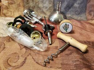 Lot of 10 Mixed Wine Accessories Corkscrews Wine Openers, Pourers, Etc