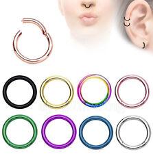 "2pcs. 20G 5/16"" Hinged Seamless Segment Ring Nose Hoop Ring Lip Septum Clicker"