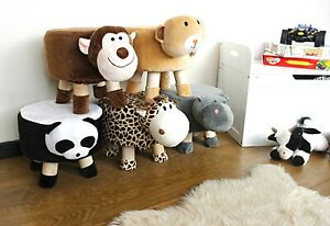 Kids Novelty Animal Character Round Padded Foot Stools Foot Rests Childrens Seat