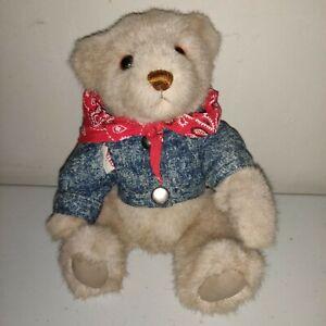 "1987 GUND Bialosky Bear Vintage With Jean Jacket and Bandana 9"" ."