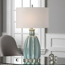 "SUZANETTE XXL 30"" RIBBED CRACKLED CERAMIC BRUSHED NICKEL TABLE LAMP UTTERMOST"