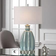 SUZANETTE RIBBED CRACKLED CERAMIC BRUSHED NICKEL METAL TABLE LAMP CRYSTAL BASE