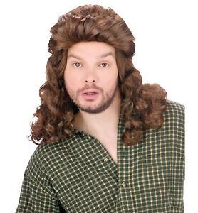 Mullet Perm Dark Brown 80s 70s Rock Star Men Costume Wig