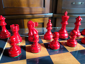Deluxe Red & Black Chess Set Heavily Weighted with Extra Queens Tournament size