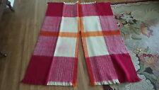 Vintage ALL WOOL Blanket PONCHO Red, Cream, & Orange,Fringed,Hippy