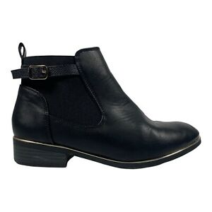 Women's Chelsea Ankle Boots New Look Women's UK Size 5 Wide Fit Black Gold Rim